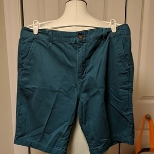 Faded glory blue green flat front shorts